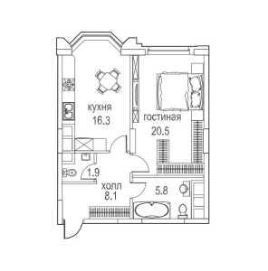 Планировка 1-комнатной квартиры в Алые паруса